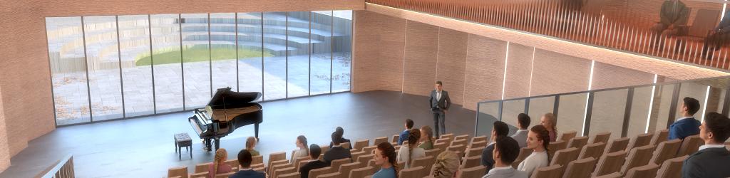 Grodzisk Mazowiecki Szkoła Muzyczna - sala koncertowa - wizualizacja konkursowa Manufaktura Technologiczna + Kozień Architekci